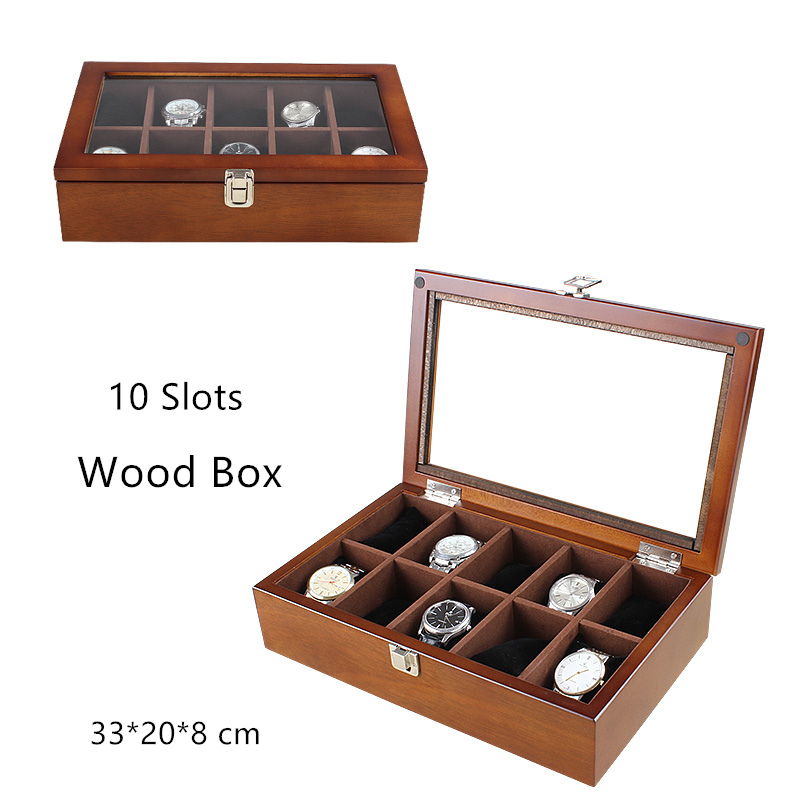 Han 10 Grids Wood Watch Box Fashion Black Watch Display Wooden Box Top Watch  Storage Gift Cases Jewelry Boxes C030
