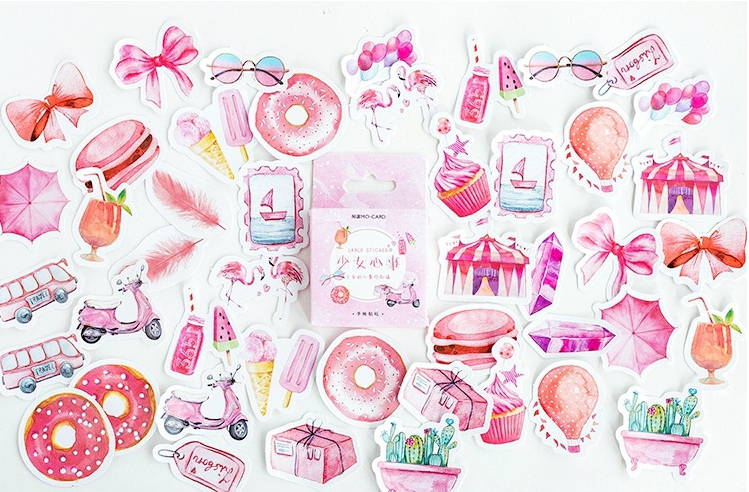 S149- Girl Mood Diy Decorative Stationary Sticker(1pack=46pieces)