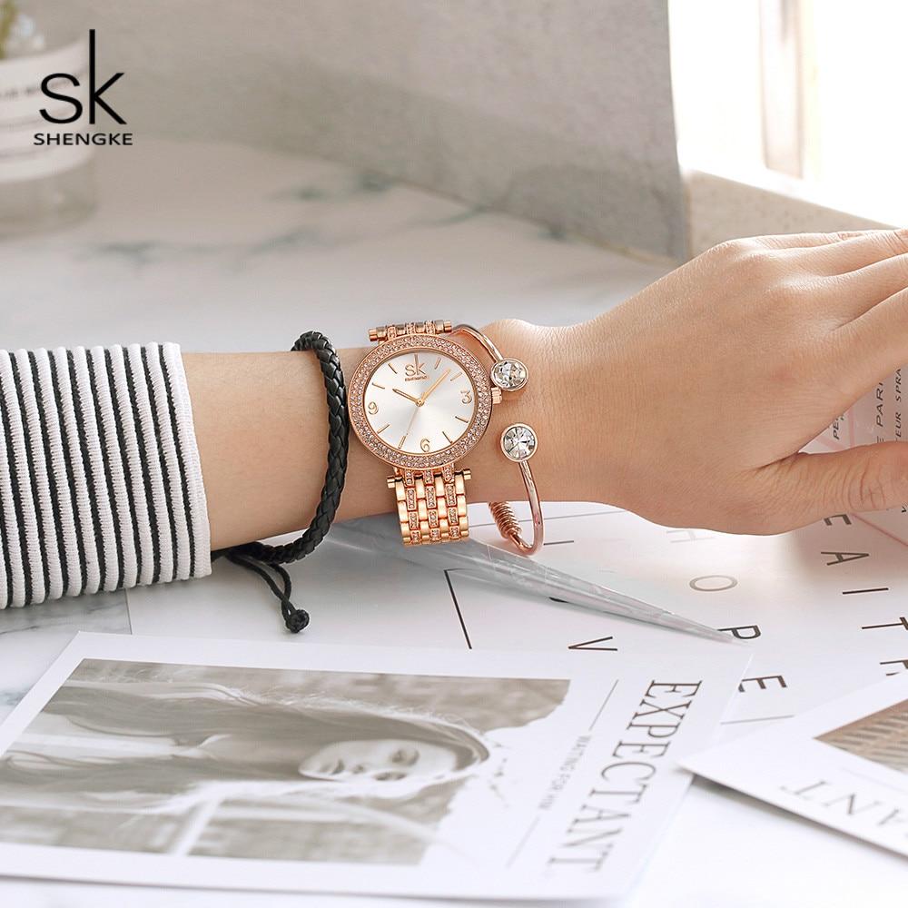 Shengke Watches Women Brand Luxury Quartz Watch Set Ladies Clock Relogio Feminino 2019 Watches With Bracelet Women's Day Gift