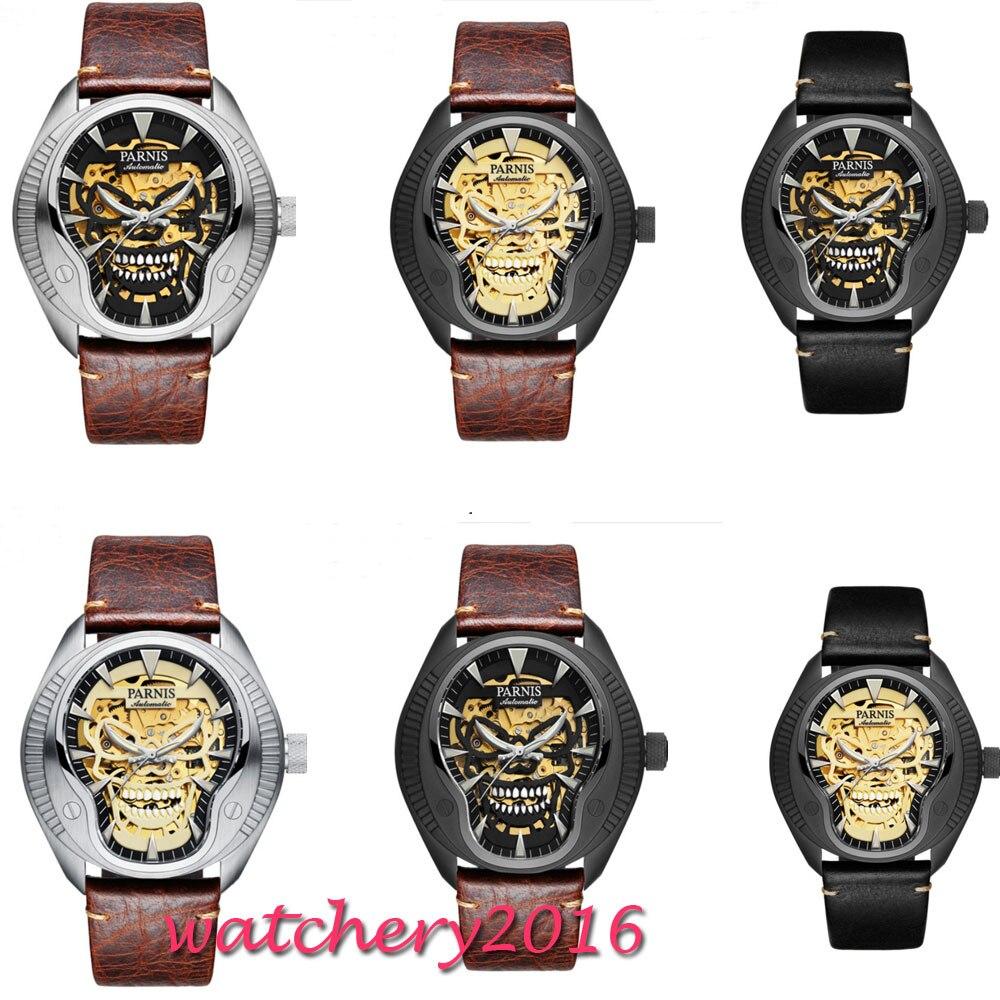 2018 Nouvelle Mode 43mm parnis cadran squelette Lumineux marques top marque De Luxe Saphir verre Miyota automatique Mécanique mens montre