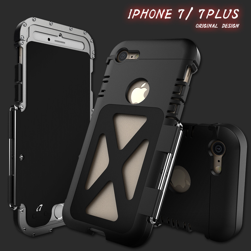 R Just Metal Armor Life Dirt Shockproof Aluminum Cover Case for iPhone X 8 7 6 6s plus Armor King Iron Man Steel Flip Case