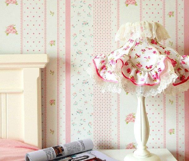 Modern Striped Flower Kids Room Wallpaper Girls Bedroom Mural Roll Pink Blue Yellow Waterproof Papel De Parede In Wallpapers From Home