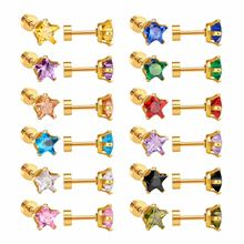 LUXUKISSKIDS Newest 12Pairs/lot Gold Five-pointed Star Earring Mixed Crystal Screw Back Earrings(China)