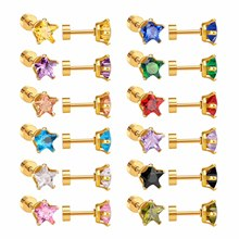 2017 Newest 12Pairs/lot Gold Five-pointed Star Earring Mixed Crystal Screw Back Earrings