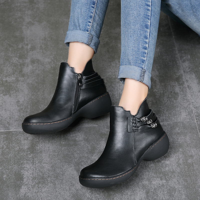 Vallu 새로운 도착 여성 부츠 2018 정품 가죽 chunky 뒤꿈치 신발 레이디 금속 장식 사이드 지퍼 여성 발목 부츠-에서앵클 부츠부터 신발 의  그룹 1