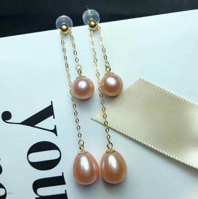 shilovem 18k yellow gold Natural freshwater pearls Drop Earrings fine Jewelry women trendy anniversary Christmas gift mym6699zz 3