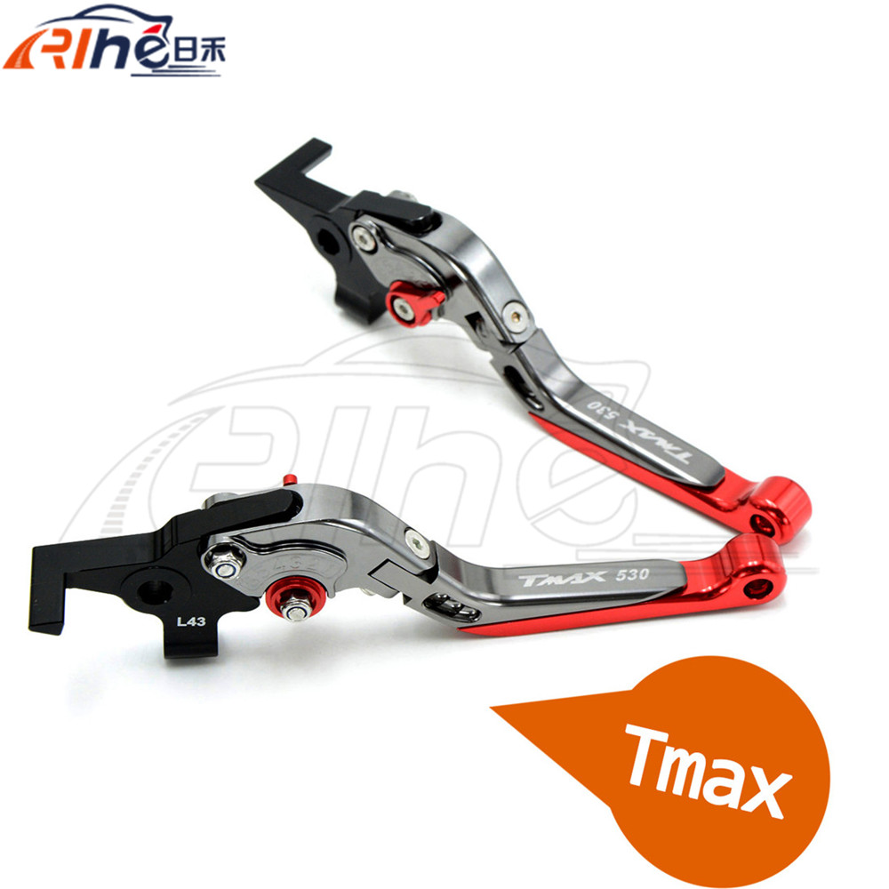 New Style Motorcycle CNC Folding&Extending Brake Clutch Levers Red Color For YAMAHA TMAX 530 TAMX530 T-MAX530 T-MAX 530 2008 for yamaha tmax tmax530 t max t max530 530 xp530 red blue new style blue logo motorcycle adjustable short brake clutch levers