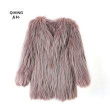 Raccoon knitwear new womens leather raccoon fur coat jacket color white ladies H21