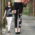 2017 Spring-Autumn Vintage Embroidered Leggings Casual Elastic Skinny Pants Basic Women Legging QS545
