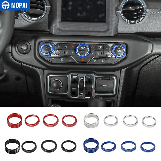 MOPAI Car Headlight Air Conditioning Switch Knob Button Decoration Cover Ring for Jeep Wrangler JL 2018+ Interior Styling