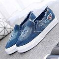 demin loafers Women Canvas Shoes Denim Flats Lady slip on Round Toe leisure Shoes moccasines Sapatos femininos footwear XK071612