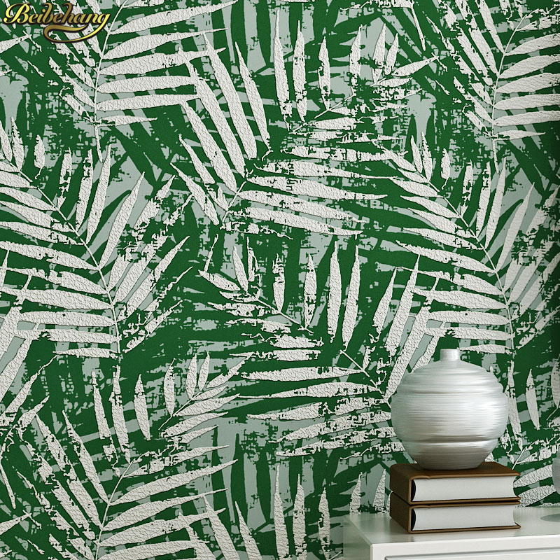 beibehang Southeast Asia palm leaf wallpaper Nordic living room bedroom TV backdrop nonwovens deer leather wallpaperbeibehang Southeast Asia palm leaf wallpaper Nordic living room bedroom TV backdrop nonwovens deer leather wallpaper