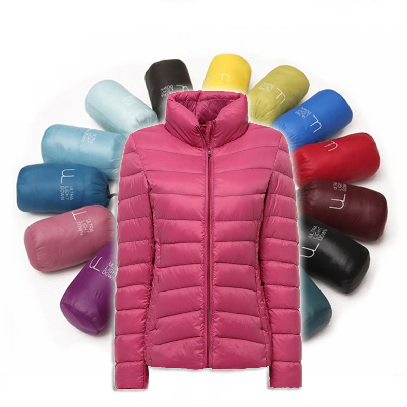 2017 womens ultra light down jacket winter duck down jackets women slim thin long sleeve parka zipper coat outerwear large size