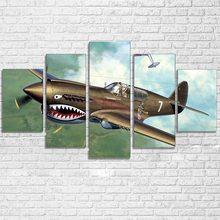 ee12aa1189 Arte de la pared de la lona cartel habitación HD huellas imágenes  abstractas 5 piezas de aviones Vintage avión pintura decoració.