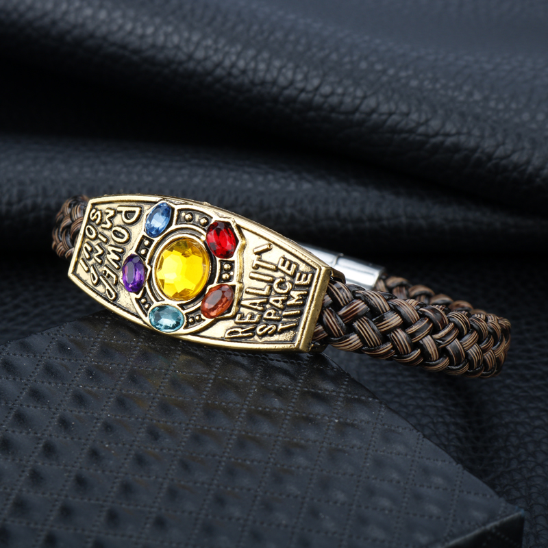 Marvel Movie The Avengers Infinity War Bracelets Infinity Thanos Crystal Magnet Leather braided chain bracelet Men Jewelry-25 image