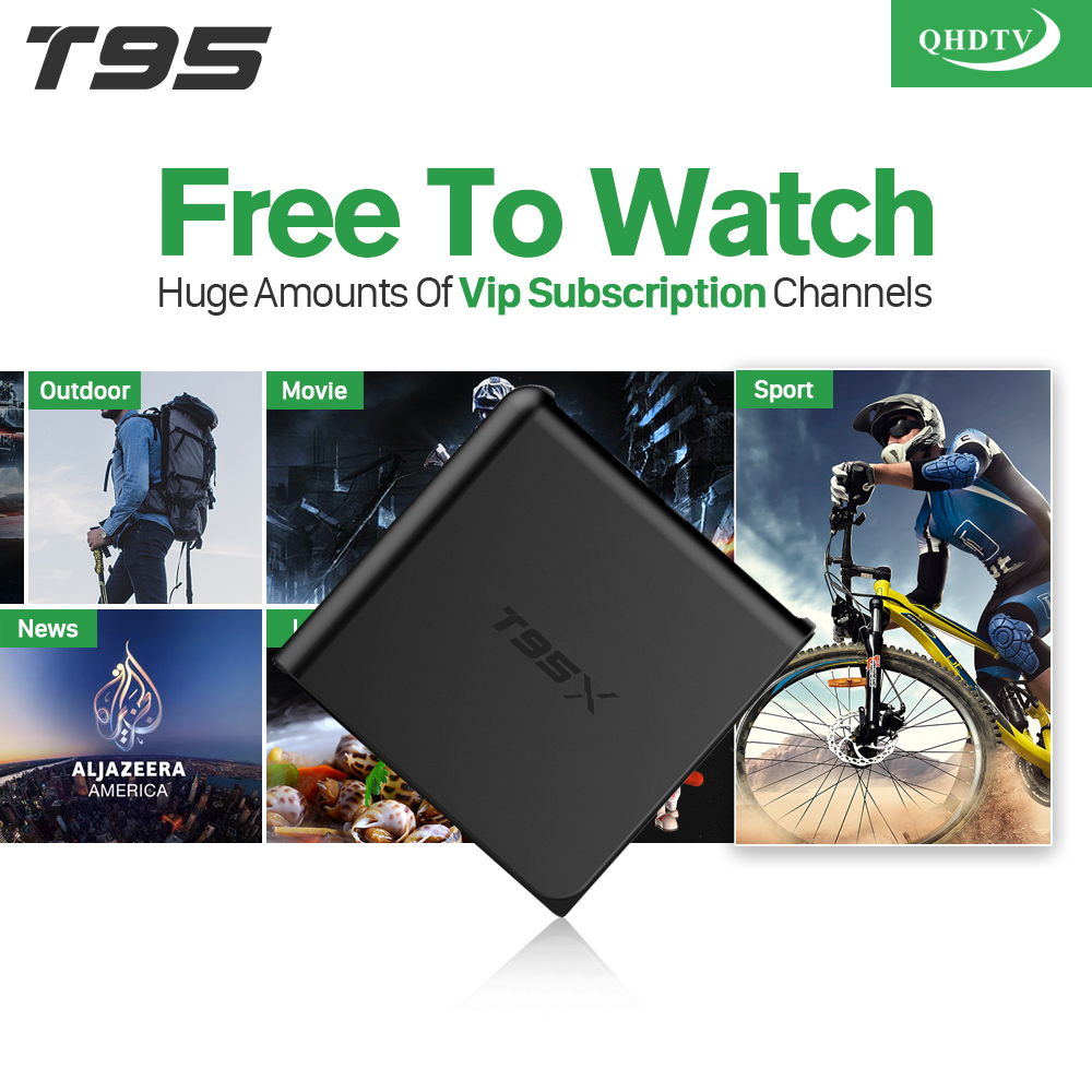 Arabic IPTV T95X Android 6.0 TV Set Top Box IPTV Receiver 1 Year QHDTV IPTV Subscription Channels Europe French IPTV Box x92 android iptv box s912 set top box 700 live arabic iptv europe french iptv subscription 1 year iptv account code