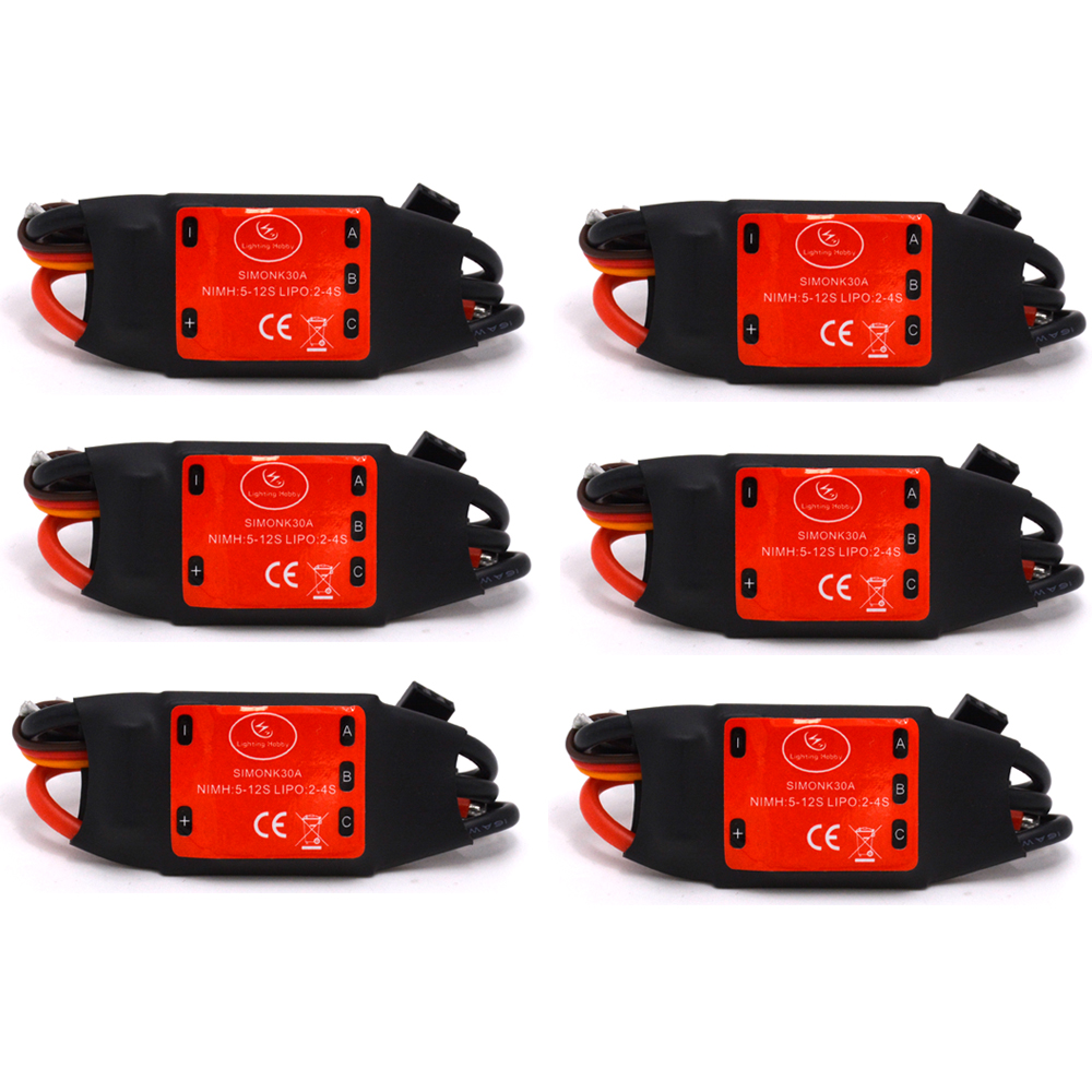 6PCS simonk30A Brushless Motor Speed Controller Control RC BEC ESC for T-rex 450 Helicopter 3650 3900kv 4p sensorless brushless motor 60a brushless elec speed controller esc w 5 8v 3a switch mode bec for 1 10 rc car