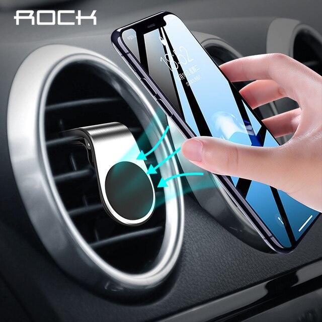 Soporte magnético de Metal de roca para teléfono de coche para iPhone Samsung Xiaomi 360 soporte magnético de aire en el GPS del coche