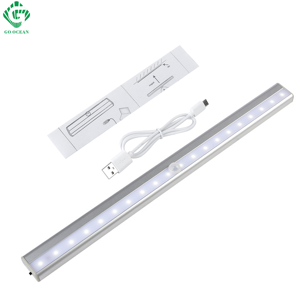 <font><b>LED</b></font> Cabinet Light Motion Sensor Detector Wireless PIR Rechargeable Closet Lights USB <font><b>Kitchen</b></font> Wall Bar Cupboard Wardrobe Lamp