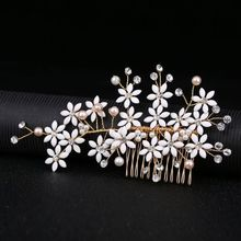 2019 bride headdress flower hairpins crystal pearl golden hair comb wedding hair accessories barrette tiara H019 bride chinese vintage headdress beaded tassel protein hairpins comb crystal hair jewelry vintage wedding hair accessories