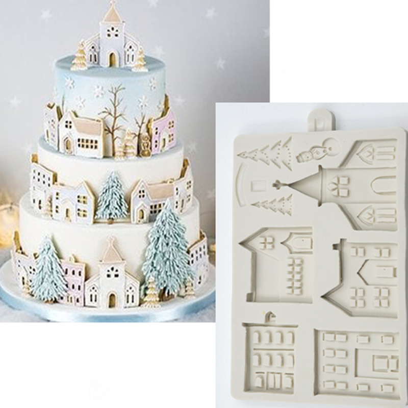 Christmas Gingerbread House Silicone Mold Fondant Mould Cake Decorating Tools Chocolate, Gumpaste, Sugarcraft, Kitchen Gadgets