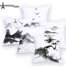 China Ink Painting Landscape Art Cushion Cover Mountain Wood Crane Pillow Covers Sofa Decorative Linen Polyester cover