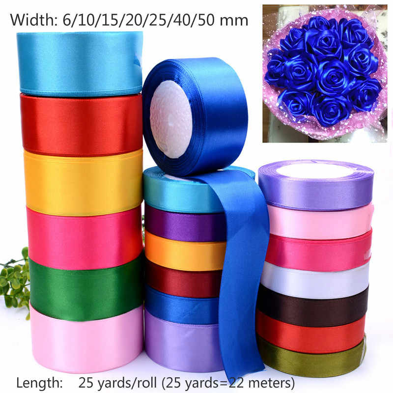 (25yards/roll) Satin Ribbon Gift Packing Wedding Christmas Party Decorations DIY Ribbons roll fabric (6/10/12/15/20/25/40/50mm)