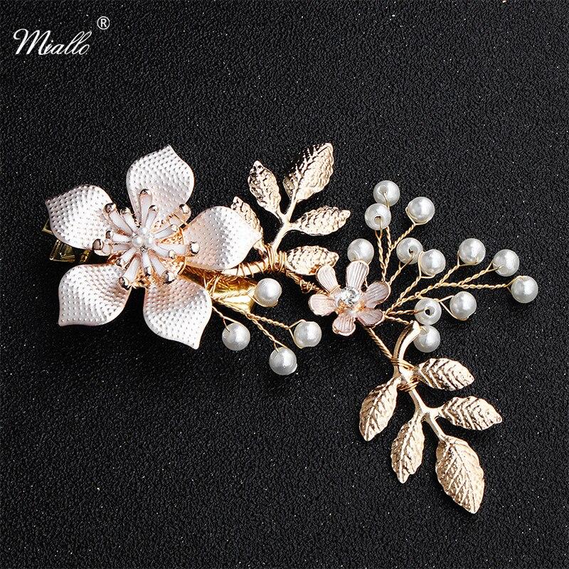 Miallo заколки для волос ручной работы золотого цвета с цветами свадебные украшения для волос головные уборы ювелирные аксессуары для женщин
