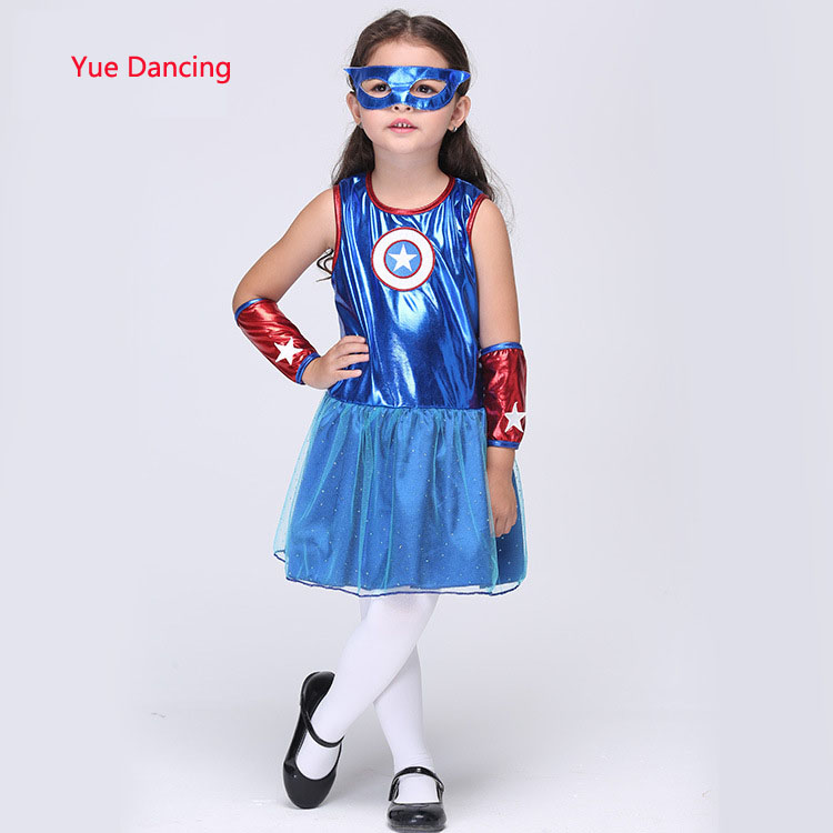 95-135cm Children Captain America Cosplay Costumes For Hallween/Christmas School Stage Show Girl Kids Fanny Clothes Blue Dresses