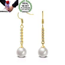 OMHXZJ Wholesale Personality Fashion OL Woman Girl Party Wedding Pearl White Pin Zircon 18KT Gold Earrings YE262