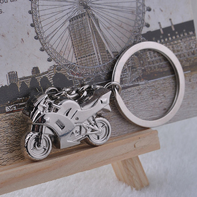 New Fashion Motorcycle Key Ring Chain Motor Bike Silver Keychain Cute Lover Gift