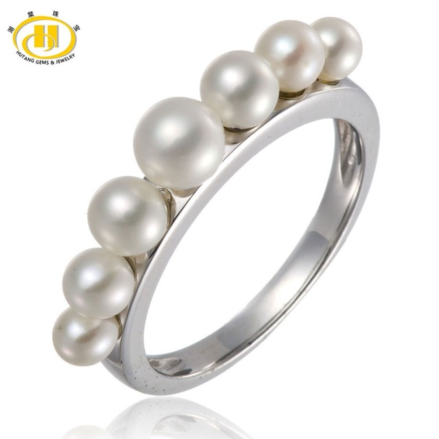 Hutang Real 925 Sterling Silver Freshwater Pearl Ring For Womens Wedding Jewelry Simple Style