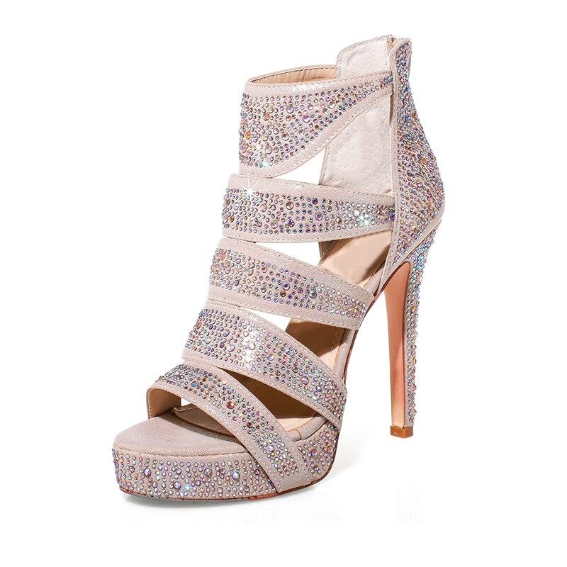 ФОТО High quality Genuine Leather women shoes fashion Rhinestone pumps Peep Toe high heels Mature Elegant party wedding summer shoes