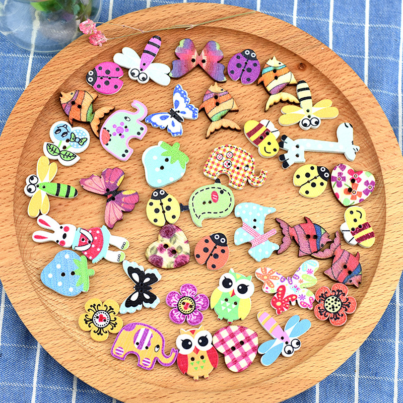 SCRAPBOOKING CRAFT ETC., 30 x ANIMAL PRINT 2 HOLE WOODEN 18mm SEWING BUTTONS