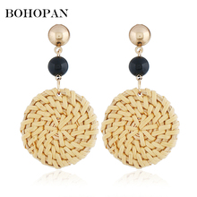 Handmade Round Big Drop Earrings For Women Black Red Beads Wooden Weave Rattan Wedding Trendy Dangle Jewelry Party Gift