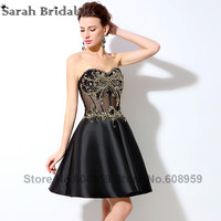Gold Rhinestone Crystal Short Homecoming Dresses 2017 New Sexy Sheer Corset Bodice Black Sweetheart Graduation Dress Party LX005