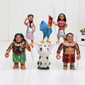 6pcs/set 7-10.5cm Moana Princess Maui Waialik Heihei Action Figures Toy Action Figure Collection Model Toy Gifts