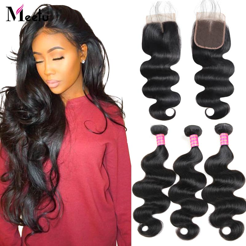 Meetu Hair Body Wave Bundles with Closure Malaysian Hair Bundles with Closure 100% Human Hair 3 Bundles with Closure Non Remy