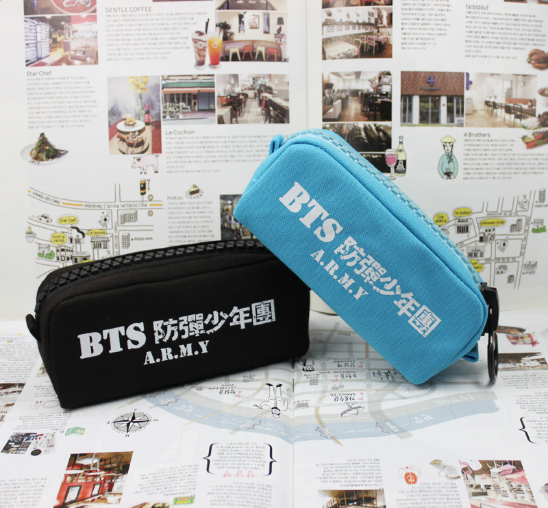 [MYKPOP]BTS LOGO Canvas Jewelry Bag Pencil Bags Cosmetic Case KPOP Student Stationery Kits KPOP Fans Collection SA18050804