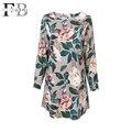 Feibushi señoras blusa elegante estampado de flores de la flor camisas de algodón de doble uso de la cabeza de la manga shirt dress plus size blusa de lino mujer