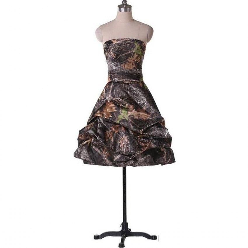 2017 Short A-Line Camo Wedding Dresses Sleeveless Strapless Zipper Camouflage Appliques Bride Bridal Gowns Custom Made Plus