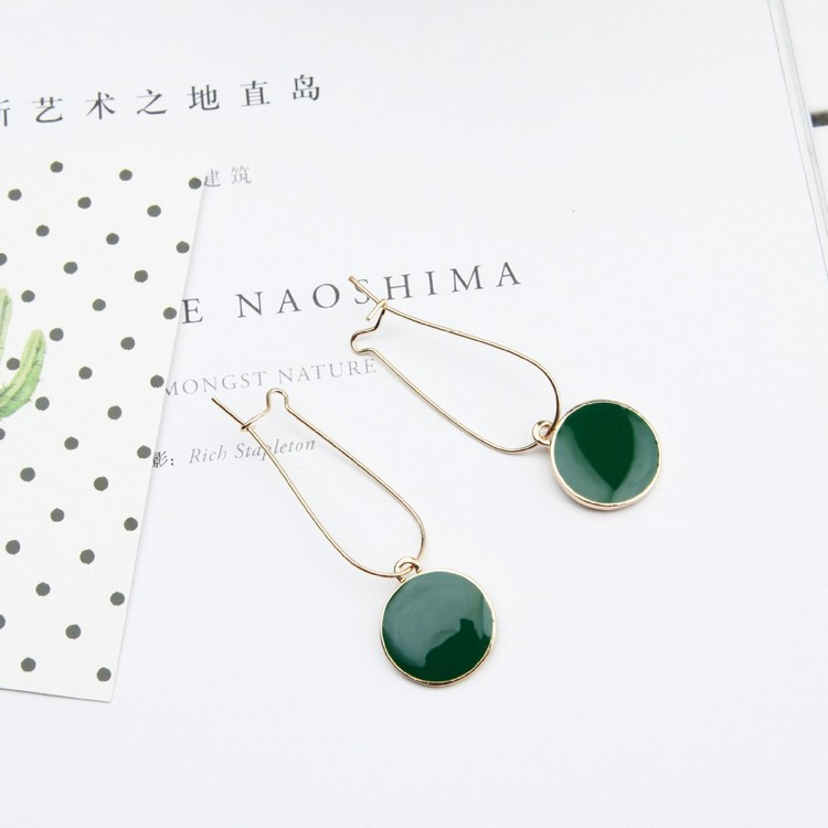 Punk 2018 New Fashion Earrings Geometric Wild Green Circle Fresh Girl Heart-shaped Ladies Earrings Wholesale Sales