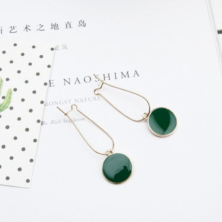 Punk 2018 New Fashion Earrings Geometric Wild Green Circle Fresh Girl Heart-shaped Ladies Earrings Wholesale Sales