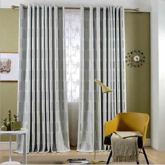 Geometric Jacquard Modern Curtains Simple Design Living: New Arrival 10% Linen Thicken Geometric Designs Jacquard