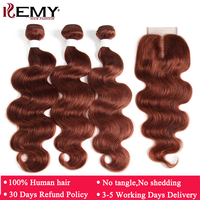 Brown Auburn Human Hair Bundles With Closure 4*4 KEMY HAIR 3 PCS Brazilian Body Wave Human Hair Weave Bundles Non Remy Hair