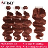 Brown Auburn Human Hair Bundles With Closure 4*4 KEMY HAIR 3 PCS Brazilian Body Wave Human Hair Weave Bundles Non Remy Hair