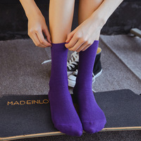 Leisure women socks stacked socks vintage two needle solid color vertical bar socks female D8503