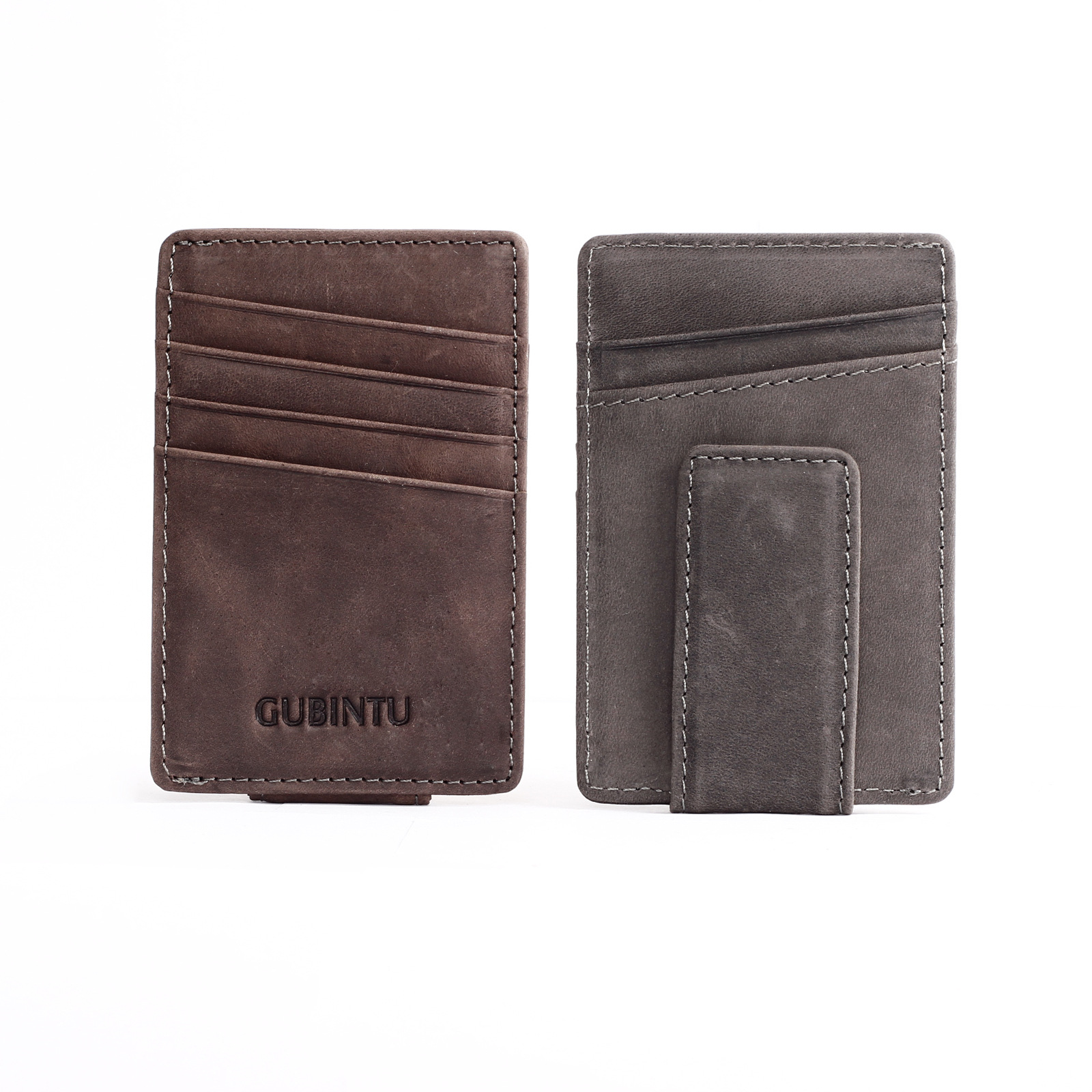 2017 Men Business Genuine leather Wallet Credit Card ID Holder with Magnet Money Clip Cowhide