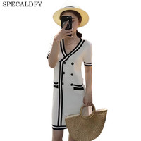 Luxury Bodycon Dress Women Knitted Sweater Dress 2017 Brand Runway Women White Black Button Min Party