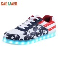 2017 Luminous Light Up LED Shoes Fashion Men Superstar Glowing Chaussure Led Unisex Lovers Casual Flash Lumineuse For Adults